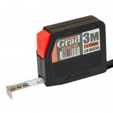рулетка с автостопом 3м*13мм (черная) Grad