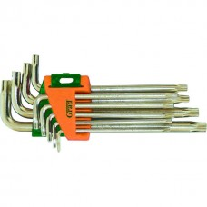 Ключі TORX 9шт T10-T50мм CrV (середні з отвором) GRAD (4022285)